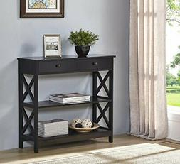 Black Finish 3-tier Console Sofa Entry Table with Shelf / Tw