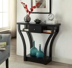 Black Finish Curved Console Sofa Entry Hall Table with Shelf