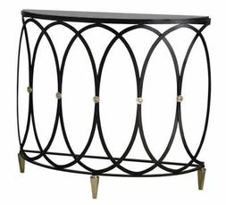 Black Iron Entwined Rings Demilune Console Table | Open Curv