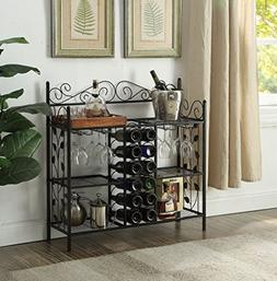 Black Metal Six  Shelf Kitchen Bakers Rack Console Table wit