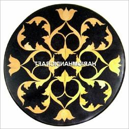 Black Round Marble Console Top Table Inlaid Modern Arts Dini