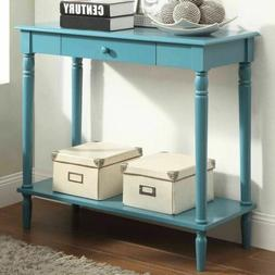 Blue Wooden Console Table Behind Sofa Entry Hallway Accent S