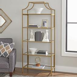 Bookcase with Gold Finish Open Shelving for Storage and Disp