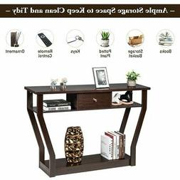 Brown Accent Console Table Modern Sofa Entryway Hallway Hall