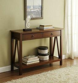 Brown Console Table Sofa Hallway Storage Entry Way Cabinet A