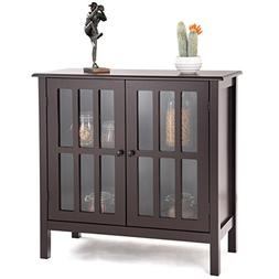 Tangkula Console Cabinet Storage White Glass Door Sideboard