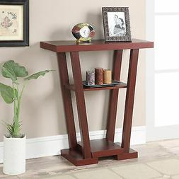 brown v shape accent console table indoor