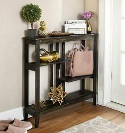 brushed metallic console table narrow hallway table