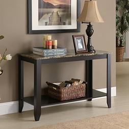 Cappuccino Faux Marble Top Console Table