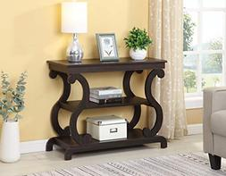 Cappuccino Finish Hall Console Sofa Entryway Accent Table Mo