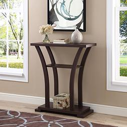 Cappuccino Finish Hall Console Sofa Entryway Accent Table wi