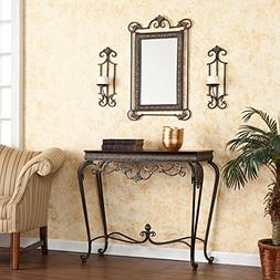 Capshaw Aged Bronze Finish framed Console, Mirror,Sconce Pai