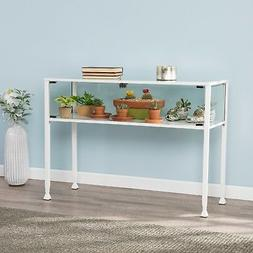 CCT37988 WHITE METAL / GLASS DISPLAY CONSOLE TABLE WITH 2 DO