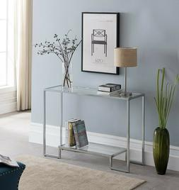 Chrome Console Table Furniture Modern Accent Entryway Glass