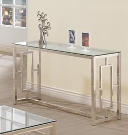 chrome console table glass top luxury glamour