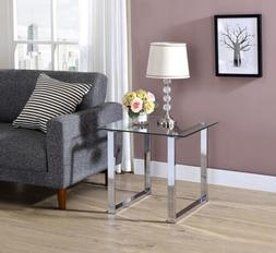 Kings Brand Chrome Finish With Glass Top End Table ~ New ~