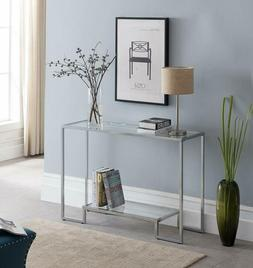 chrome finish glass top 2 tier console
