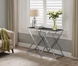 Chrome Metal Frame / Black Tempered Glass Console Sofa Table