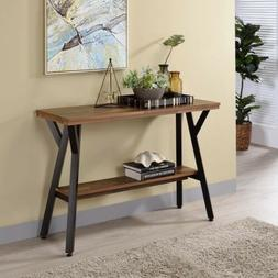 Furniture of America Cillen Farmhouse Black Open-shelf Conso