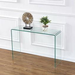 Clear Glass Console Table Waterfall Design Entryway Table Ho