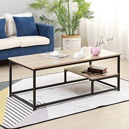 """Soges Coffee Table with Shevles 47.2"""" Sofa Table Console Tab"""