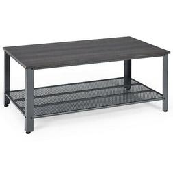 Designer Coffee Table Console Table with Storage Shelf Metal