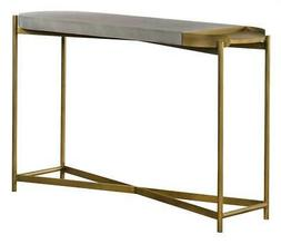 Concrete Console Table in Gray and Brass