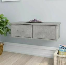 Wall Mounted Console Table Concrete Grey Floating Shelf 2 Dr