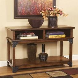 console console table in medium brown