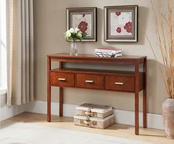 Kings Brand Console Entryway Table with 3 Drawers, Walnut Fi