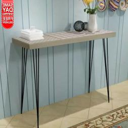 "Console Table 35.4""x11.8""x28"" MDF + steel Gray"