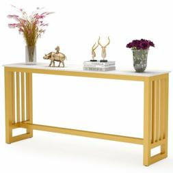 Tribesigns Console Table Behind Couch Table with Faux Marble