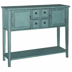 Pemberly Row Console Table in Distressed Blue