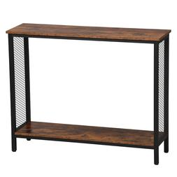Console Table for Entryway,Storage Shelves Metal Frame Wood