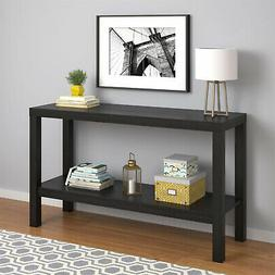 Console Table For Living Room Storage Bottom Shelf Dark Blac