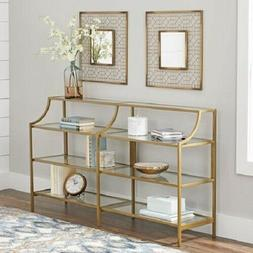 Console Table Gold Finish Shelving Storage Display Metal Tem
