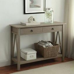 console table in rustic gray