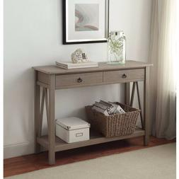 Console Table in Rustic Woodgrain Gray Finish Sofa Table 2 D