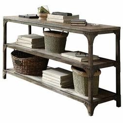 Bowery Hill Console Table in Weathered Oak and Antique Silve