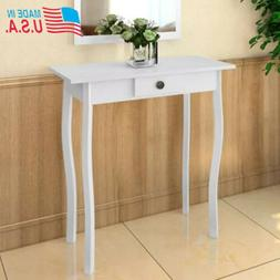"Console Table MDF Veneer White for Living Room Bedroom 29"" x"