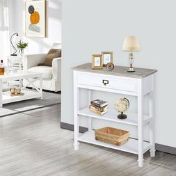 Console Table Sideboard Table w/ Drawer and 2 Tier Storage S