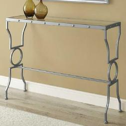 Monarch Console Table Silver Metal With Tempered Glass