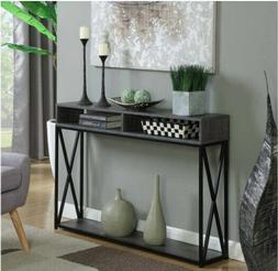 Console table,Tucson Deluxe 2 tier, color gray and black, br