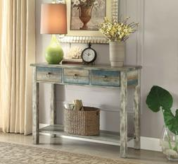 Console Table Vintage 3-Drawer Distressed Antique White Teal
