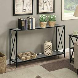wood and steel console table for entryway