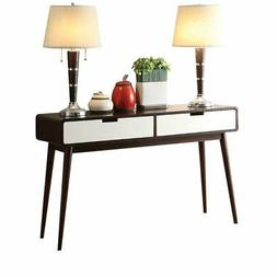Bowery Hill Console Table in Walnut and White