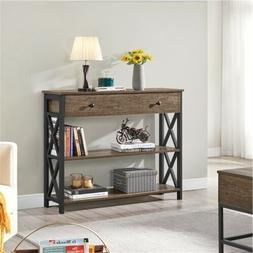 Console Table with 1 Drawer and 2 Open Shelves Entry Table f
