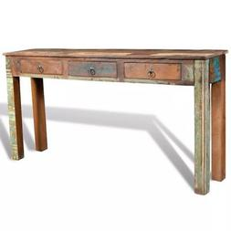 "Console Table with 3 Drawers Reclaimed Wood 59"" x 12"" x 30"""