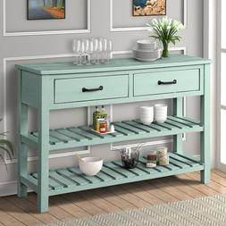 Retro Console Table for Entryway with Drawers Shelf Living R