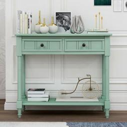 Console Table With Two Drawers Bottom Storage Shelf Retro Bl